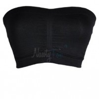 Black Soft Seamless Strapless Tube Top Bandeau Padded Bra