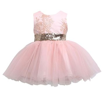 Baby Girls Ball Gown Dresses Bridesmaid Formal Clothing Kids Baby Girl Sequins Boknot Dress Cute Christmas Party Kids
