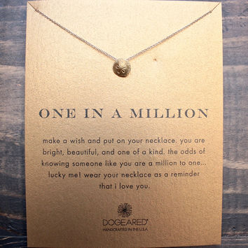 dogeared one in a million sand dollar necklace in gold dipped