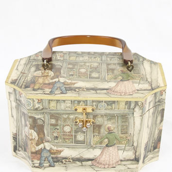Anton Pieck Vintage Decoupage Wooden Purse