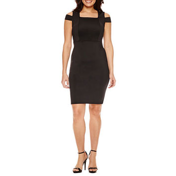 Bold Elements Short Sleeve Cold Shoulder Bodycon Dress - JCPenney