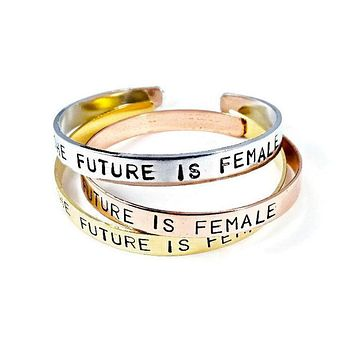 The Future is Female Adjustable Aluminum Cuff Bangle