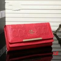 COACH Zipper Women Leather Purse Wallet Red I-LLBPFSH