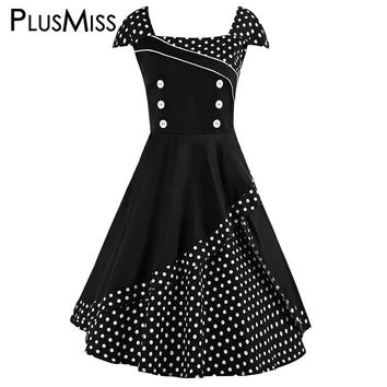 Plus Size 4XL Polka Dot Vintage Retro 50s Dress Women Cap Sleeve Tunic A Line Dress Summe 2017 Swing Party Vestidos Robe