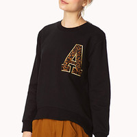 FOREVER 21 Run Wild Leopard Sweatshirt Black/Tan Large