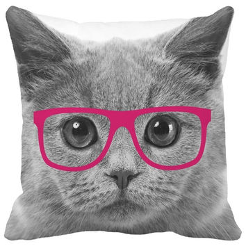Generic Throw Pillow Cover Gray Lovely Big Cat Face with Fuschia Glasses Pattern Print Home Decor = 1930113092