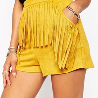 Missguided Suedette Fringe High Waisted Shorts