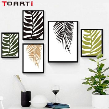 Tropical Palm Frond A4 Canvas Art Painting Poster And Prints Green Plant Wall Picture For Living Room Nordic Home Decor No Frame