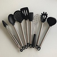 8 Pieces Super Sturdy Cooking Utensils Set With Anti Scratches & Non Stick Silicone Tips For Pots and Pans - Serving Tongs, Spoon, Spatula Tools, Slotted Turner, Pasta Server, Ladle, Strainer, Whisk.