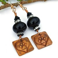 """For Love of a Dog"" - Dog Love Earrings Paw Prints Hearts Handmade Black Lampwork Copper"