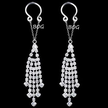 ac PEAPO2Q BOG-1 Pair Sexy Non pierced Clip On Ring Jewelry Fake Shield With Tassel Dangle Adjustable Body Jewelry