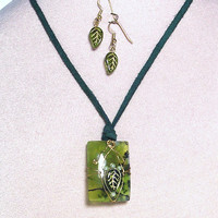 Moss Green (Dendritic) Agate Gold Wire Wrapped Pendant with Leaf and Pearl Embellishments on Suede leather chord