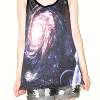 Star Cluster Galaxy Andromeda Universe Black Women Top Shirt Tank Top Tunic Singlet Sleeveless Photo Transfer Punk Rock T-Shirt Size S