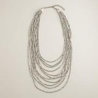 Silver Multi-Layer Bead Necklace - World Market
