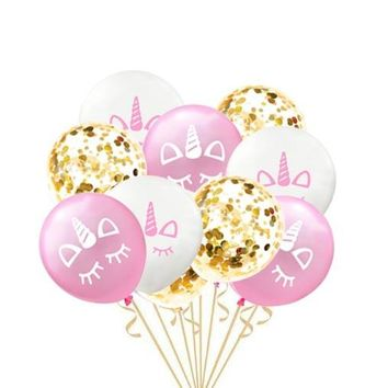 15pcs 12 inch Confetti Balloon Rose Gold Party Unicorn Party Air Baloon Wedding Birthday Party Decorations Kids Favors