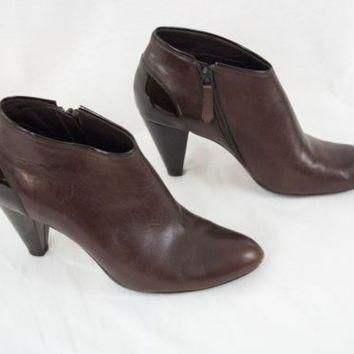 Cole Haan Shoes Ankle Boots Leather Nike Air Sole 8.5 B Side Zip Cone Heel