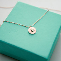 Dainty Circle Coin 12 Constellation Libra Necklace