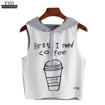 2017 T Shirt Women Fashion Sexy Coffee First Letter Print Hooded Sleeveless T-Shirt Women Summer Tops camiseta mujer #23