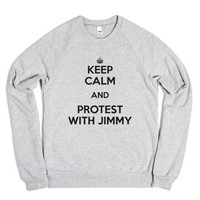 Keep Calm and Protest With Jimmy-Unisex Heather Grey Sweatshirt