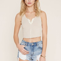 Striped Lace-Up Crop Top
