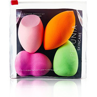 Makeup Beauty Dupe Sponge Blender - 4pc Multi-Functional Shapes - Non-Disposable Cosmetic Applicator - FREE e-Book Guide Included - High Definition Non-Latex Foam - Blend Foundation, Highlight & Contour - Colors Vary