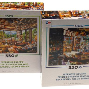 Ceaco Weekend Escape Jigsaw Puzzles 550 Pieces 24x18 Set of 2 Made USA