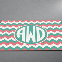 Custom Circle Monogram two or three letter any color! Chevron Stripes Monogram Mousepad Custom Personalized Family Pad
