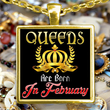 February Crowned Queen Handmade Golden Plated Necklace