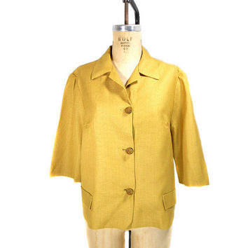 1960s Mustard Yellow Jacket / Mad Men / Rayon Linen / Office Fashion / Womens Vintage Jacket / Size Large