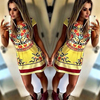 Retro Floral Print A-line Short Dress