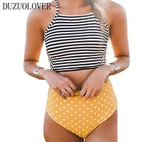 2017 Sexy Bikini Stripe Halter Women Swimsuit Bandage Swimwear Print Cross Bikini Set High Waist Swinsuit Bathing Suit Swim Wear