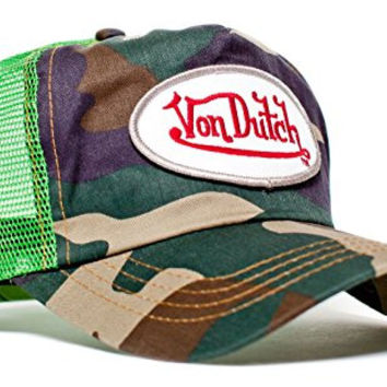 Von Dutch Originals Unisex-Adult Trucker Hat -One-Size Lime/Camo