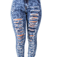 High Waist Acid Wash Perfect Fit Distressed Jeans