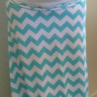 Tiffany blue and white Chevron maxi skirt, summer skirt, chevron maxi skirt, skirt, maternity skirt, long skirt