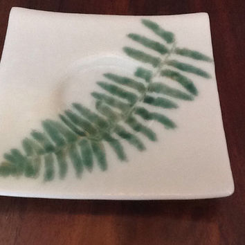 Candle Plate - Fused Glass Plate - Wedding Candle Plate - #decor, #candle, #white, #green, #wedding