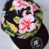 Tropical Paradise SnapBack Hat: Black