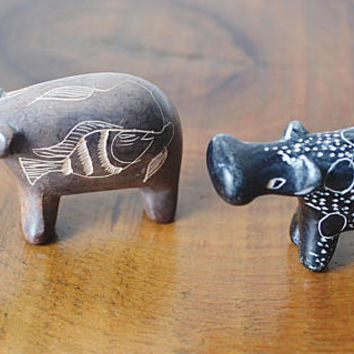 Miniature Stone Hippos, Vintage Hand Carved Figurines, African Animal Figurines