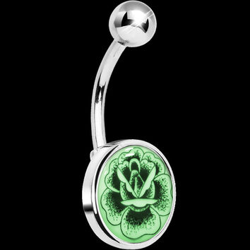 Stainless Steel Arty Stippled Rose Glow in the Dark Belly Ring