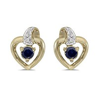 10K Yellow Gold Round Sapphire and Diamond Heart Shaped Earrings