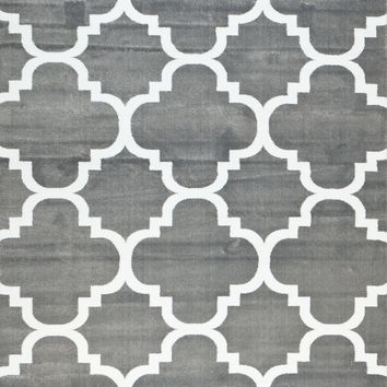 4158 Gray Moroccan Lattice Area Rugs