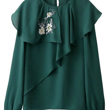 Green Embroidery Floral Ruffle Detail Long Sleeve Blouse