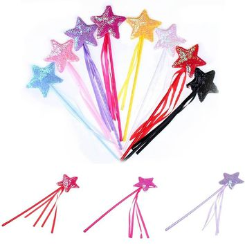 1 Pcs Halloween Day Cute Five Pointed Star Fairy Wand Magic Stick Girl Party Princess Favors 8 Lovely Colors!!!