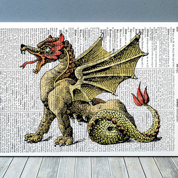 Wyvern poster Creature art Fantasy print Magic beast print RTA900