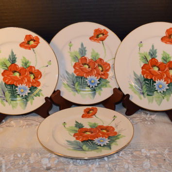 Hand Painted Union China Lunch Plates Vintage Set of 4 Salad Plates Red Flowers Shabby Chic Plates Discontinued China Replacement Wedding