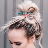 Stones + Tassels Bun Wrap - Red
