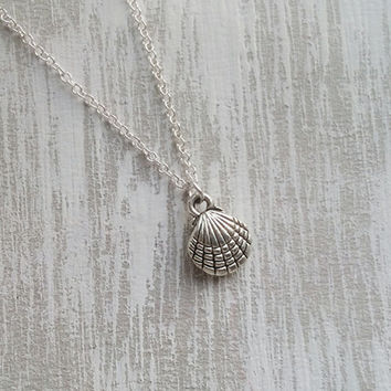 Silver Shell Necklace, Wedding Necklace, Bridesmaids Necklaces, Sterling Silver, Women Necklace