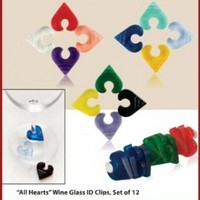 Wine Glass Markers - 12 Pieces Heart Shaped Stemware ID Clips