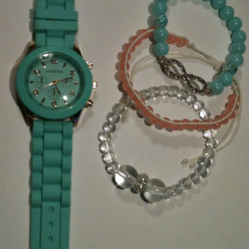 Turquoise and Rose Gold 4 Piece Stack Set Watch Included