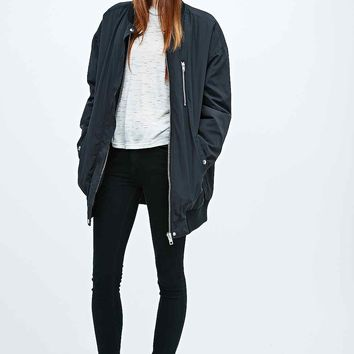 Light Before Dark Longline Bomber Jacket in Black - Urban Outfitters