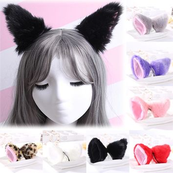 Fashion Girl Children Women Cute Sexy Anime cartoon ear Fox Cat Ear hairpin Royal sister LORI animation dance fox ear hairpin